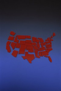 A map of the US, broken into states.